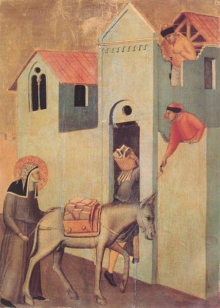 Beata Umiltà Transports Bricks to the Monastery, 1341 - Pietro Lorenzetti