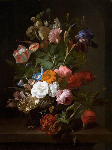 Flowers in a Gl Vase, with a Cricket in a Niche, 1700 - Rachel ... on bud vases, graveside vases, us metalcraft vases, floral vases, niche wall art, cemetery vases, niche flower holders,
