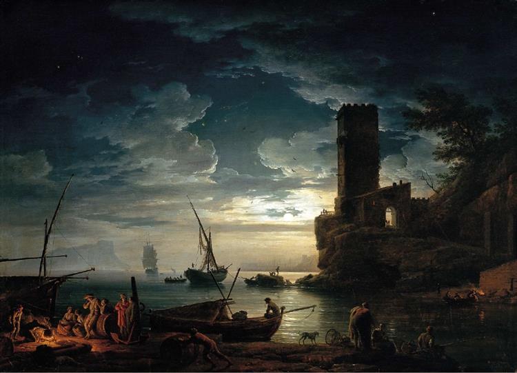 Nuit - Scène de côte méditerranéenne avec des pêcheurs et des bateaux, 1753 - Claude-Joseph Vernet