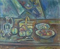 Still Life with Basket, Jug and Fruits - Pinchus Kremegne