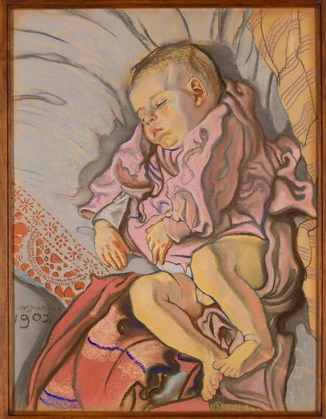 Sleeping child on a pillow, 1902 - 斯坦尼斯拉夫·维斯皮安斯基