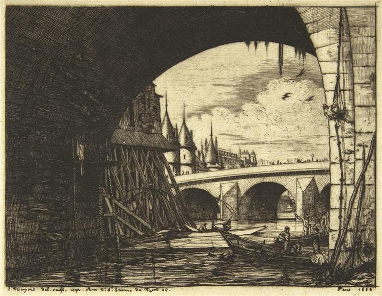 Archway, Pont Nôtre-dame, Paris, 1853 - Charles Meryon