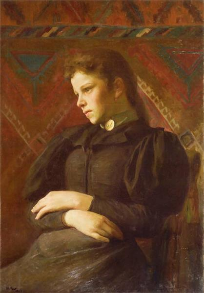 Portrait Of The Girl In The Navy-Blue Dress, 1895 - Wojciech Weiss