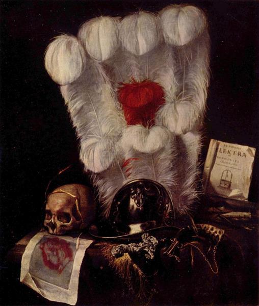 Vanitas: Still-Life with a Feather Fan, c.1670 - Juriaen van Streeck