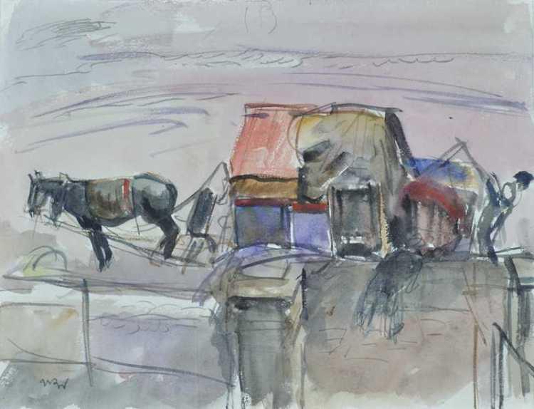 Horse in Front of An Inn - Wojciech Weiss