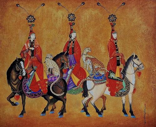 The Three in Folk Dresses on Horses - Zaya