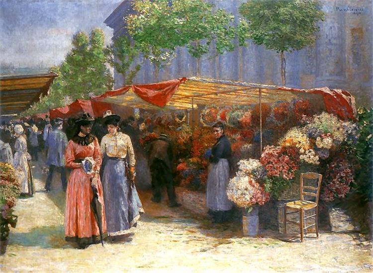 Flower Market in Front of the Madeleine Church in Paris, 1890 - Józef Pankiewicz