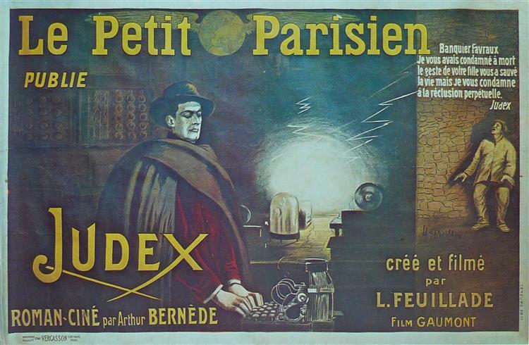 Affiche Par Leonetto Cappiello Pour Le Film Et Le Feuilleton Judex 1916. Grand Format 160x240 Cm. Imprimeur Vercasson, Paris., 1916 - Leonetto Cappiello