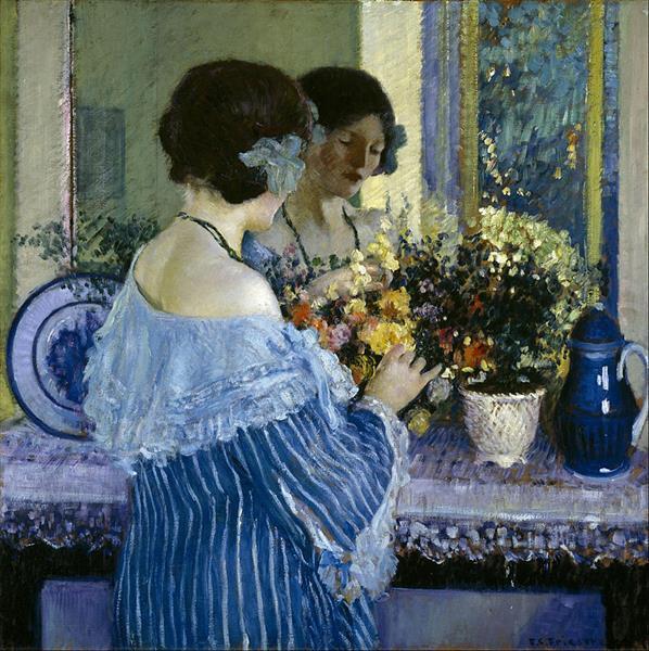 Girl in Blue Arranging Flowers - Frederick Carl Frieseke
