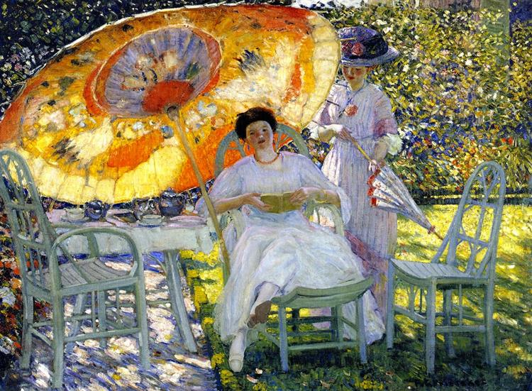 The Garden Parasol, c.1910 - Frederick Carl Frieseke