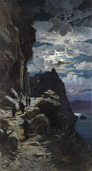 Gang Der Mönche Zum Bergkloster Athos, 1905 - Hermann David Salomon Corrodi