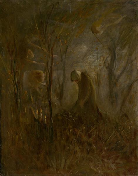Prayer over the Grave, 1895 - Laszlo Mednyanszky