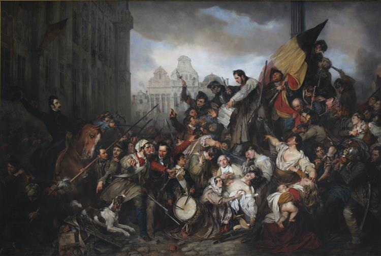 Episode of the September Days 1830 (on the Grand Place of Brussels), 1835 - Gustaf Wappers