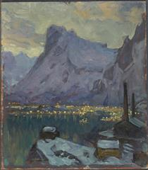 Svolvaer Harbour at the Height of the Fishing Season.Study from Lofoten - Анна Боберг