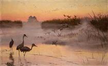 Dawn. The Kingdom of Birds - Józef Chełmoński