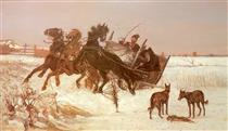 Three in the Snow - Józef Chełmoński