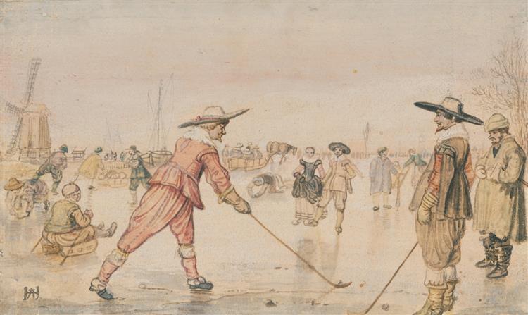 A Winter Scene with Two Gentlemen Playing Colf, 1620 - Hendrick Avercamp
