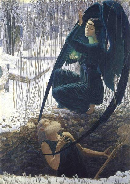 Death and the Grave Digger, 1895 - Carlos Schwabe