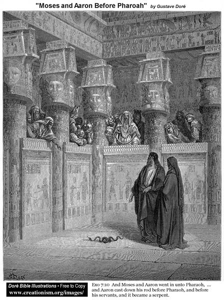 Moses and Aaron Before Pharaoh - Gustave Dore