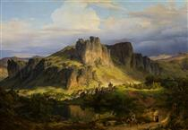 Landscape in the Eifel Mountains. - Carl Friedrich Lessing