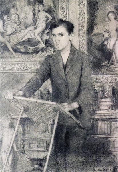 Self Portrait at the Drawing Board, 1919 - Bruno Schulz