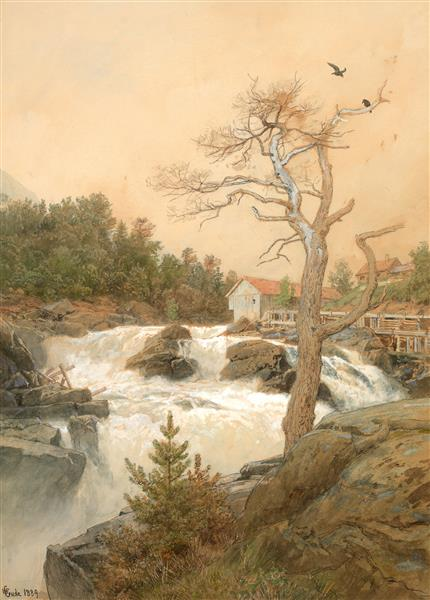 fossefall - Hans Gude