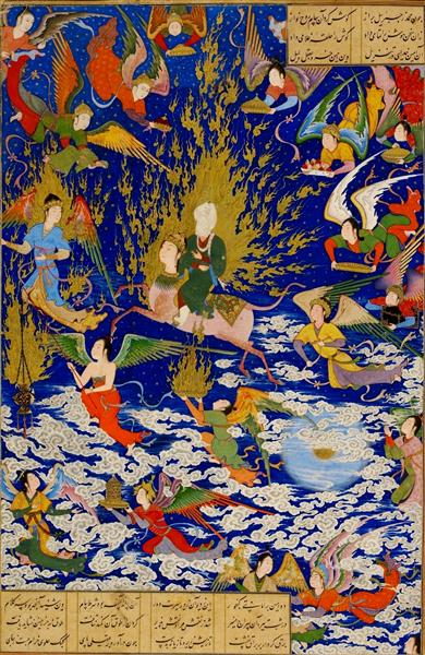 The ascent of Muhammad to heaven (mi'rāj) (Khamseh), 1543 - Sultan Muhammad
