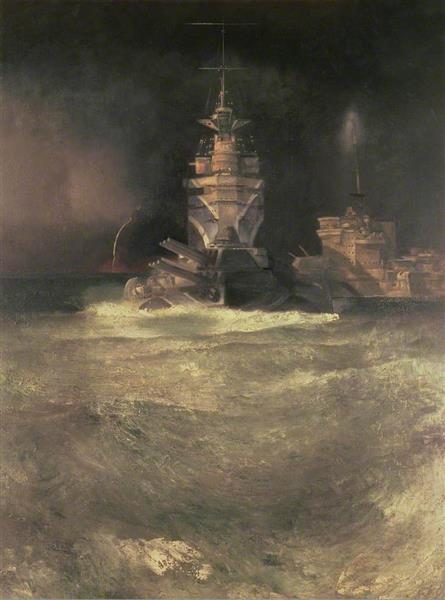 D Day, Reconstruction (Battleships at Sea), 1944 - Richard Eurich