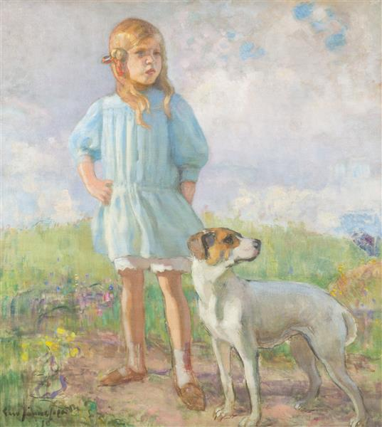 Flickan Med Hunden, 1910 - Eero Järnefelt