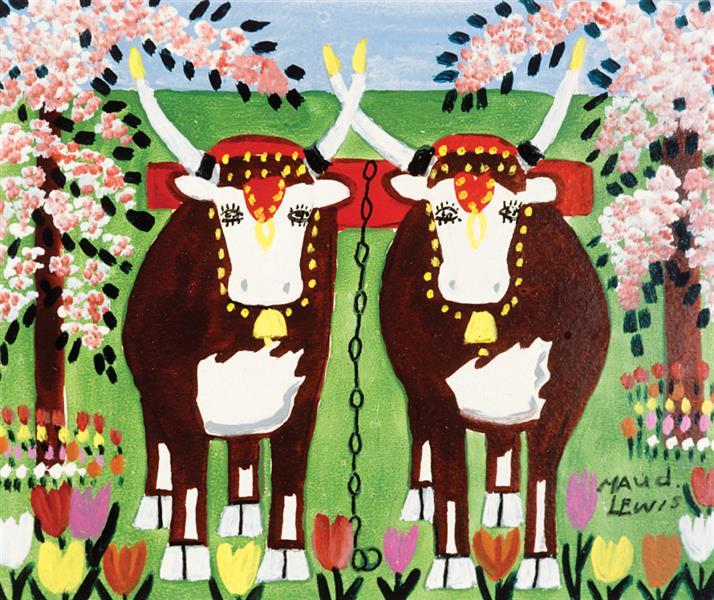 Oxen in Spring, c.1960 - Maud Lewis