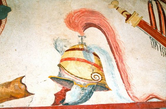 Military Armor, Arms, and Gear from the Tomb of Lyson and Kallikles in Ancient Mieza, Greece, c.150 BC - Ancient Greek Painting