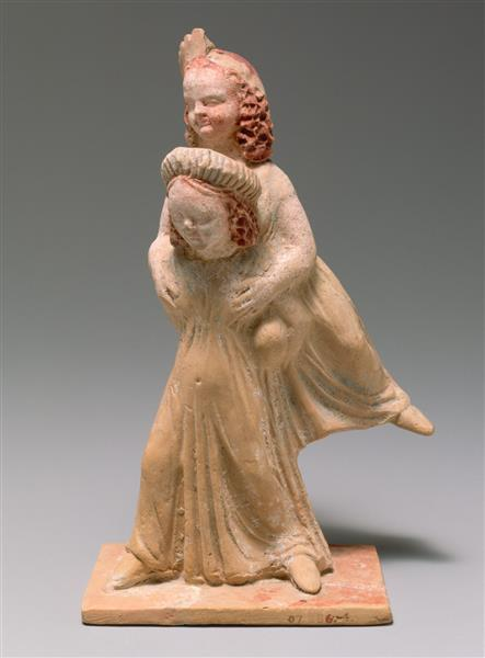 Terracotta Group of Two Girls Playing a Game Known as Ephedrismos, c.300 BC - Ancient Greek Painting