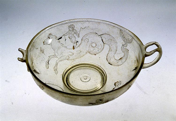 Two Handled Glass Bowl. From a Grave on the Island of Siphnos, c.50 BC - Ancient Greek Pottery