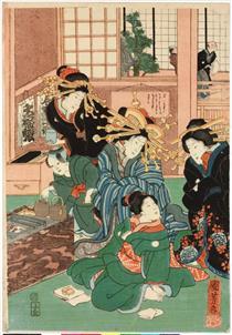 Fiori di Edo (al centro) - Utagawa Kuniyoshi