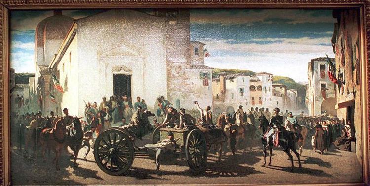 L'artiglieria Toscana a Montechiaro Salutata Dai Francesi Feriti a Solferino - Telemaco Signorini