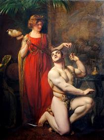 Hercules at the Feet of Omphale - Gustave-Claude-Etienne Courtois