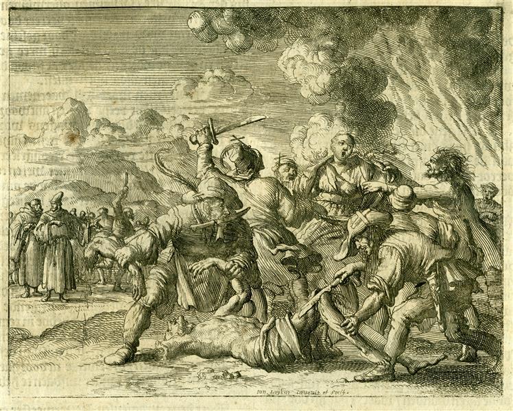 Burning of Dulcin and His Wife, Novarra, AD 1308 - Jan Luyken