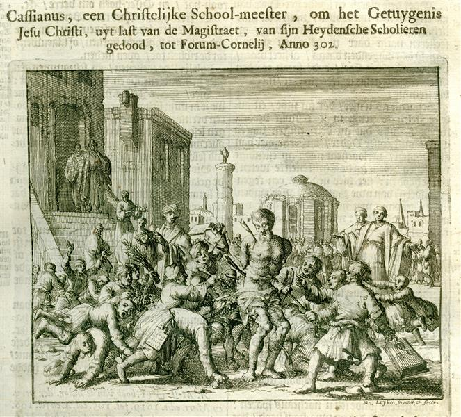 Cassianus, a Teacher, Killed by His Students, Imola, AD 302, 1684 - Jan Luyken