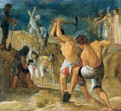 The excavation of the cross, 1605 - Adam Elsheimer