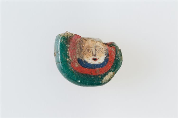 Inlay, Bead Blank with Face, c.100 BC - c.100 AD - Ancient Egyptian Painting