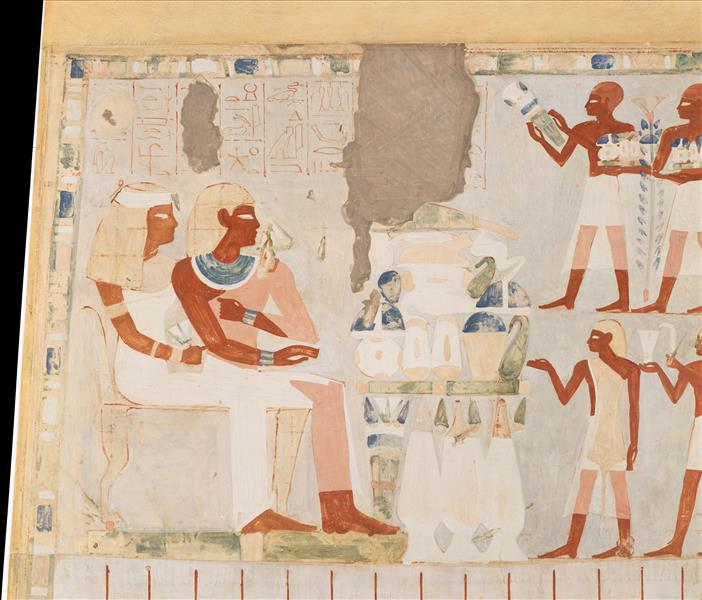 Nakht and His Wife Receiving Offerings, Tomb of Nakht, c.1390 BC - Ancient Egypt