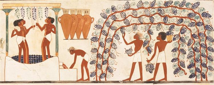 Nakht and Family Fishing and Fowling, Tomb of Nakht, c.1390 BC - Ancient Egyptian Painting