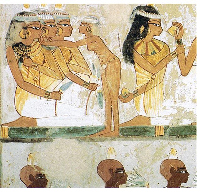 Ägypterinnen Beim Fest Und Eine Dienerin, c.1390 BC - Ancient Egyptian Painting