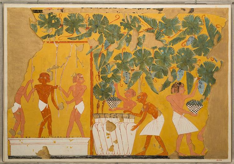 Winemaking, Tomb of Ipuy, c.1279 - c.1213 BC - Ancient Egyptian Painting
