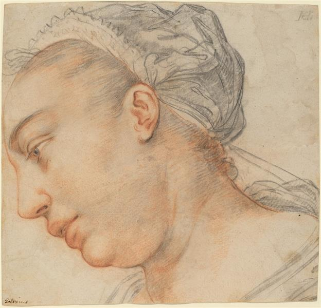 Head of a Young Woman, c.1605 - Hendrick Goltzius