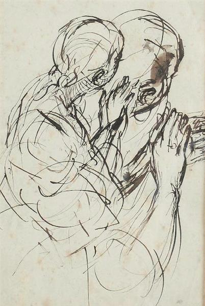 Etude d'une Gitane vue de dos - Alfred Dehodencq
