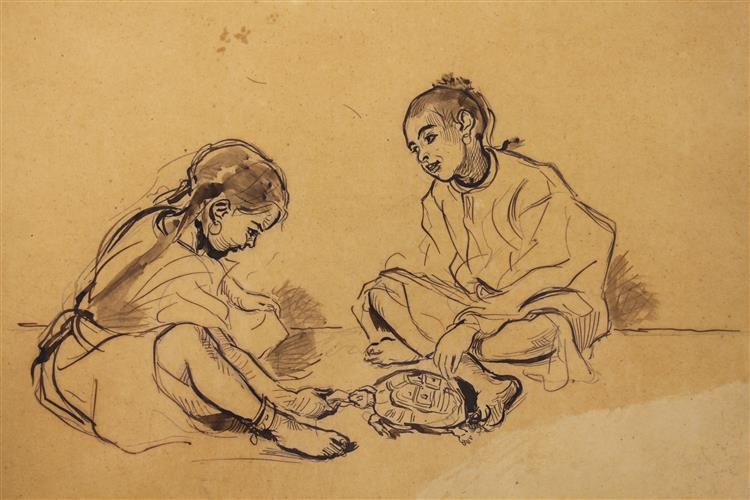 Deux enfants assis jouant avec une tortue - Alfred Dehodencq