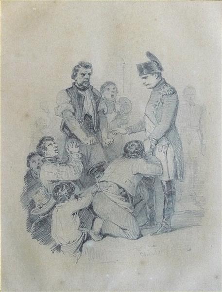 La foule se presse autour de l'empereur dans les jardins de l'Elysée, c.1841 - Nicolas Toussaint Charlet