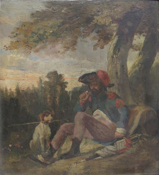 Soldat de la République au Repos avec son chien - Nicolas Toussaint Charlet