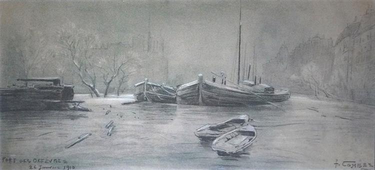 Paris, Port des Orfèvres, l'hiver, avec la Seine gelée, 1910 - Fernand Combes